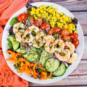 King Prawn Salad served on a white plate consisting of rocket leaves,sweet corn, chopped cherry tomatoes, cucumber, orange pepper, chilli salad dressing and sprinkled desiccated coconut all over the top