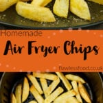 Pin images of our air fryer chips with the top image of our chips served on a black plate and the bottom image of our chips cooked in the air fryer