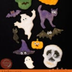 Pin image of our Halloween Sugar Bread cut outs shaped like a skull , pumpkin cat ,ghost ,vampire Frankenstein and a witches hat