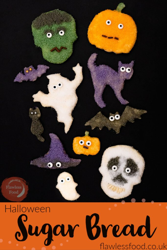 Pin image of our Halloween Sugar Bread cut outs shaped like a skull , pumpkin cat ,ghost ,bat, Frankenstein and a witches hat