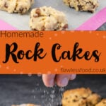 Pin images of or rock cakes with the top image of rock cakes being placed on a silicone mat by hands and fork and the bottom image of our rock cakes having sugar sprinkled over the top of them on a wire rack
