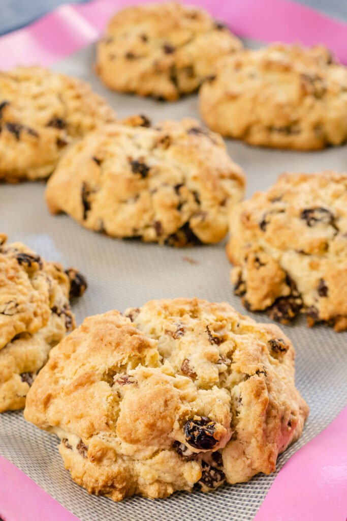 Rock cakes cooked cooling off on a silicon mat