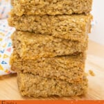 Image of Oaty flapjack bars stacked up on a wooden board