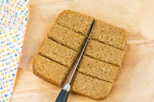 Cutting the Easy Flapjacks Recipe into bars with a knife