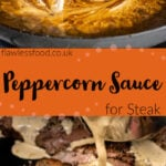 Pin images of our peppercorn sauce with the top image of