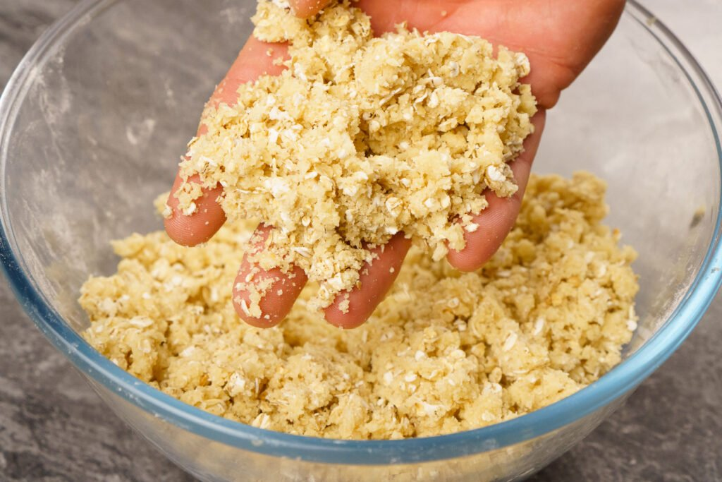 Crumble mixture mixed together by hand