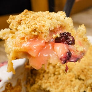 Apple and Blackberry Crumble on a spatula to serve
