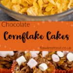 Pin images of our chocolate cornflake cakes with the top image Pouring cornflakes on top of the chocolate mixture in a clear glass bowl and the bottom image of a stack chocolate cornflake cake in orange cupcake cases with marshmallows on top